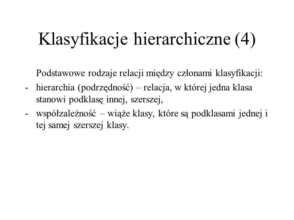 Klasyfikacje hierarchiczne (4) Podstawowe rodzaje relacji między członami klasyfikacji: -hierarchia (podrzędność) – relacja, w której jedna klasa stan