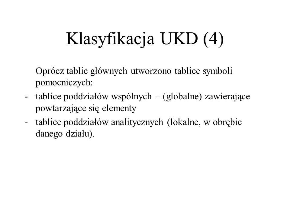 Klasyfikacja UKD (4) Oprócz tablic głównych utworzono tablice symboli pomocniczych: -tablice poddziałów wspólnych – (globalne) zawierające powtarzając