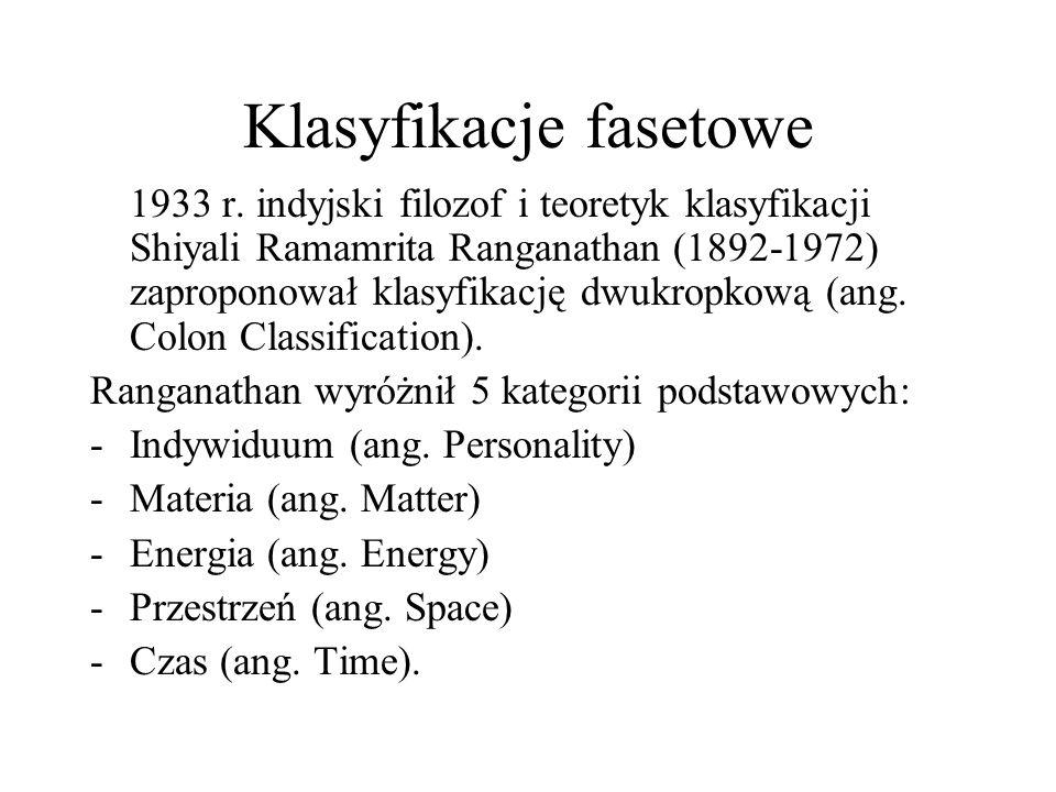 Klasyfikacje fasetowe 1933 r. indyjski filozof i teoretyk klasyfikacji Shiyali Ramamrita Ranganathan (1892-1972) zaproponował klasyfikację dwukropkową
