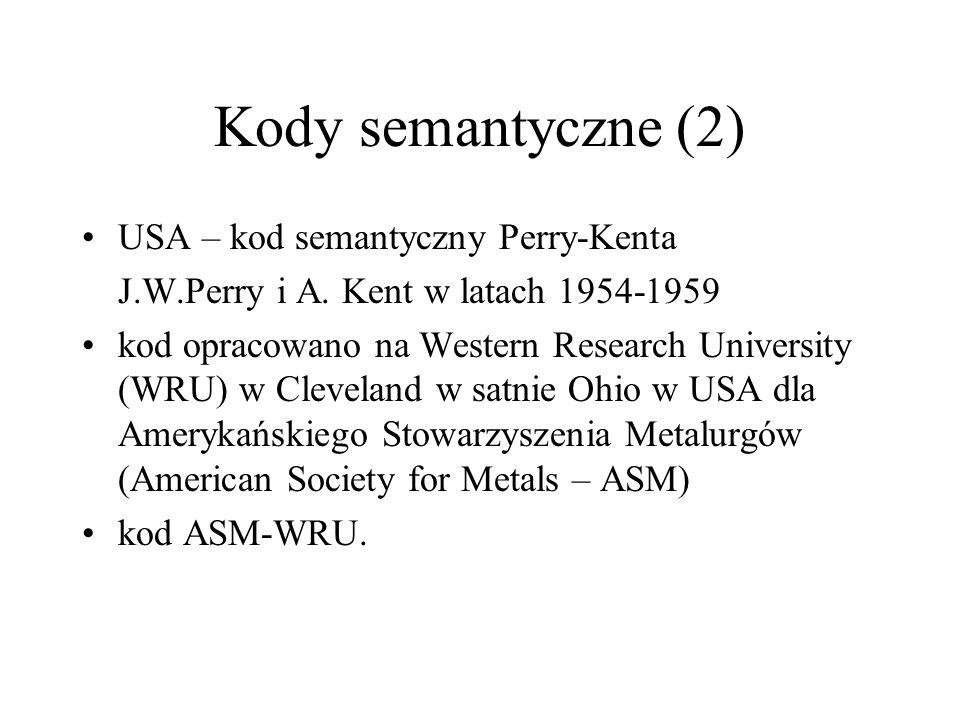 Kody semantyczne (2) USA – kod semantyczny Perry-Kenta J.W.Perry i A. Kent w latach 1954-1959 kod opracowano na Western Research University (WRU) w Cl