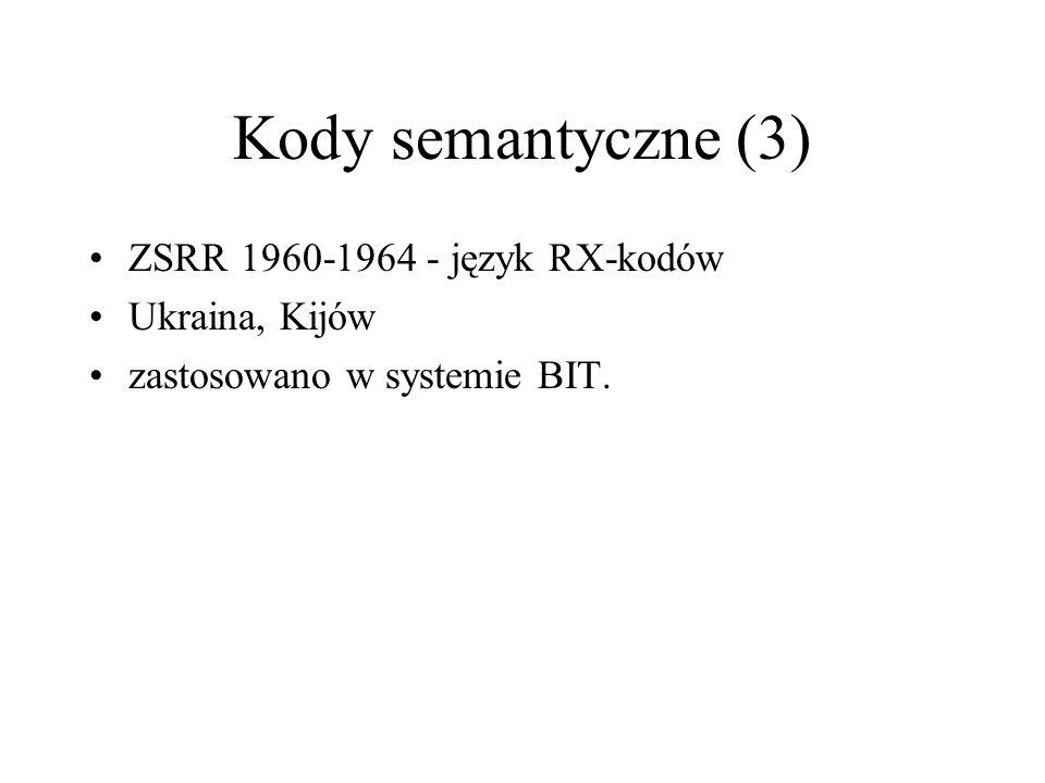 Kody semantyczne (3) ZSRR 1960-1964 - język RX-kodów Ukraina, Kijów zastosowano w systemie BIT.