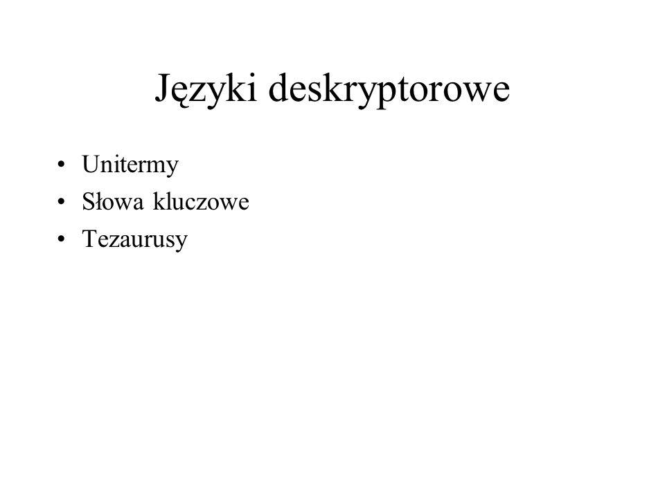 Języki deskryptorowe Unitermy Słowa kluczowe Tezaurusy