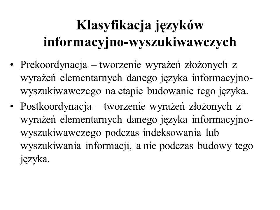 Klasyfikacja języków informacyjno-wyszukiwawczych Prekoordynacja – tworzenie wyrażeń złożonych z wyrażeń elementarnych danego języka informacyjno- wys