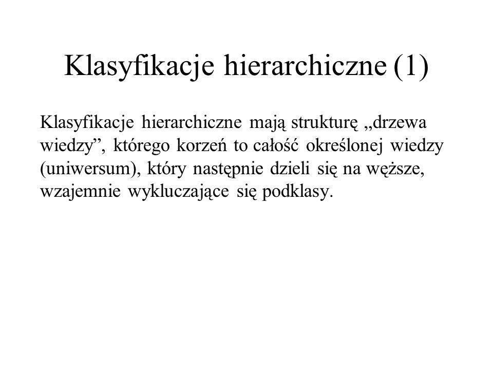 Klasyfikacje alfabetyczno-przedmiotowe (2) ZALETY: -alfabetyczny porządek jest ogólnie znany, dlatego też do jego stosowania nie są potrzebne żadne specjalne znajomości ani środki pomocnicze, -o wiele łatwiejsze jest wprowadzanie nowych terminów niż w klasyfikacjach hierarchicznych, WADY: -nie jest możliwe wyszukiwanie informacji według dowolnych połączeń cech, -włączenie synonimów do przedmiotowego wykazu haseł wymaga zastosowania wielokrotnie krzyżujących się odsyłaczy, co znacznie komplikuje strukturę.