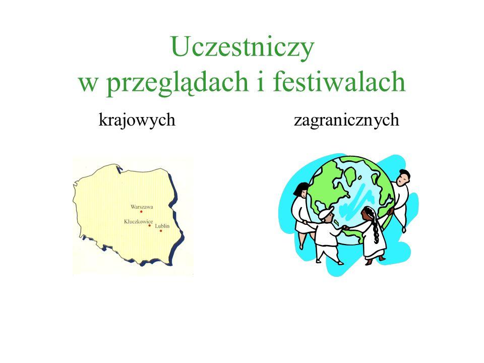 Uczestniczy w przeglądach i festiwalach krajowychzagranicznych
