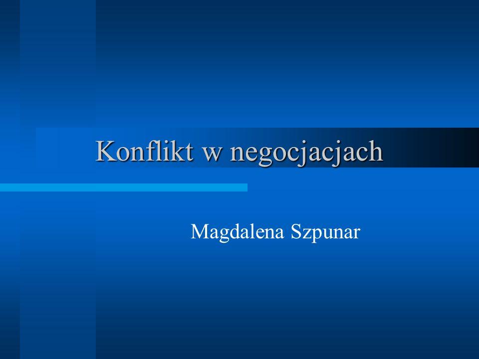 www.magdalenaszpunar.com Fazy konfliktu Sytuacja poprzedzająca Okres prowokacji (inicjacja) Okres eskalacji (rozbudowanie konfliktu) Faza konfrontacji (walka o zwycięstwo)