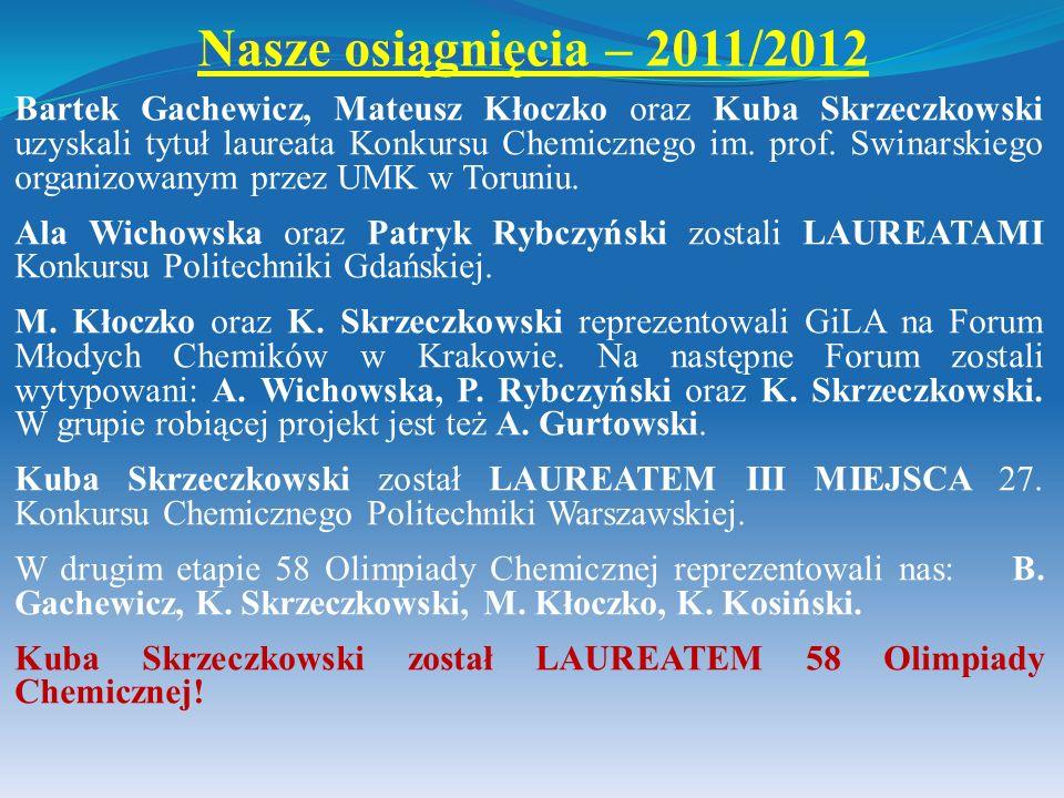 Bartek Gachewicz, Mateusz Kłoczko oraz Kuba Skrzeczkowski uzyskali tytuł laureata Konkursu Chemicznego im. prof. Swinarskiego organizowanym przez UMK