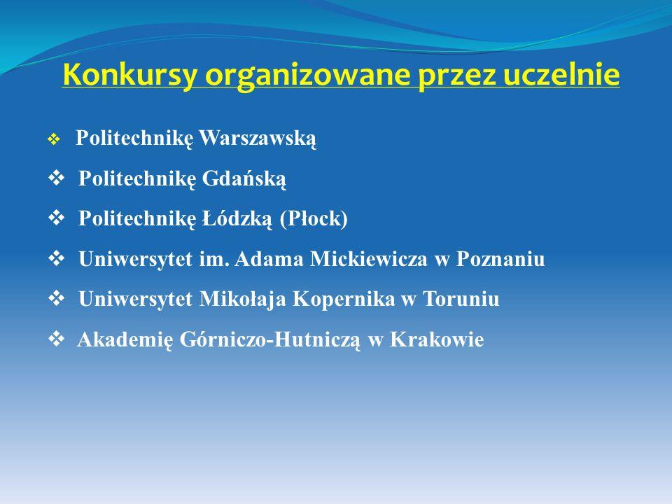 Konkursy organizowane przez uczelnie Politechnikę Warszawską Politechnikę Gdańską Politechnikę Łódzką (Płock) Uniwersytet im. Adama Mickiewicza w Pozn