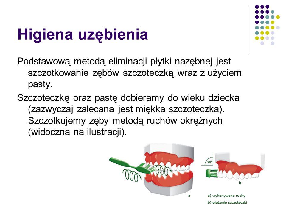 Higiena uzębienia Podstawową metodą eliminacji płytki nazębnej jest szczotkowanie zębów szczoteczką wraz z użyciem pasty. Szczoteczkę oraz pastę dobie