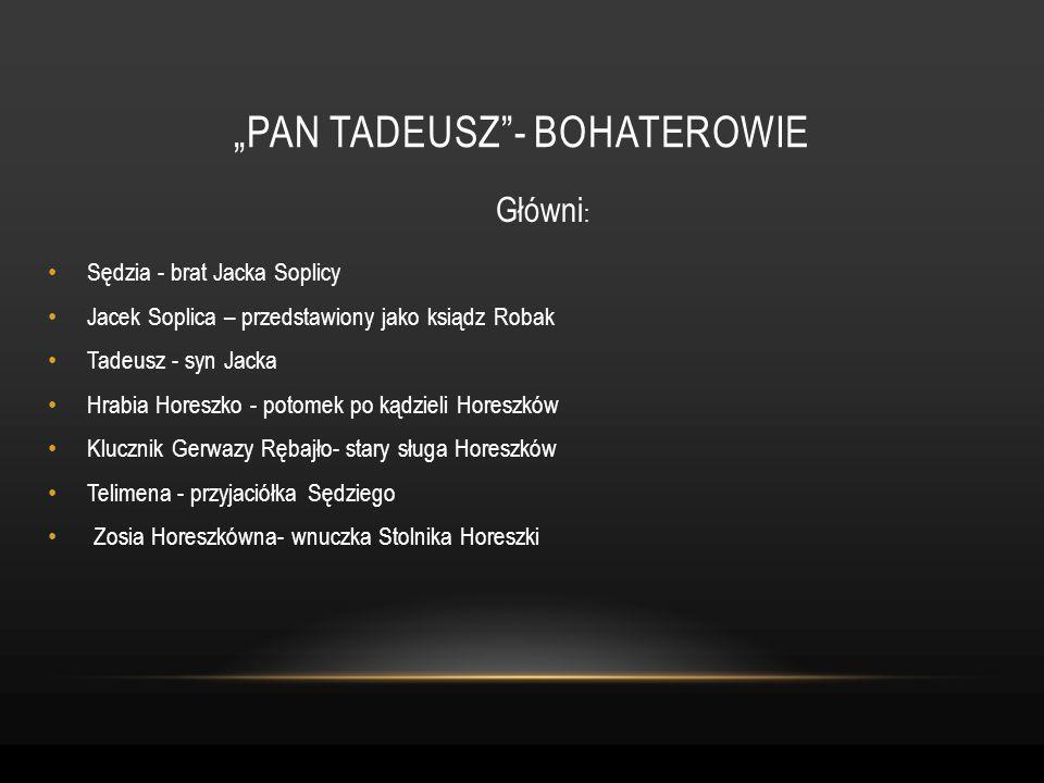 Główni : Sędzia - brat Jacka Soplicy Jacek Soplica – przedstawiony jako ksiądz Robak Tadeusz - syn Jacka Hrabia Horeszko - potomek po kądzieli Horeszk