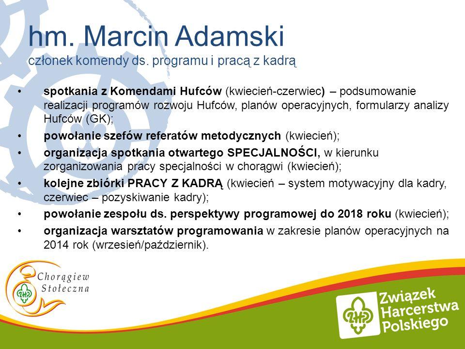 spotkania z Komendami Hufców (kwiecień-czerwiec) – podsumowanie realizacji programów rozwoju Hufców, planów operacyjnych, formularzy analizy Hufców (G