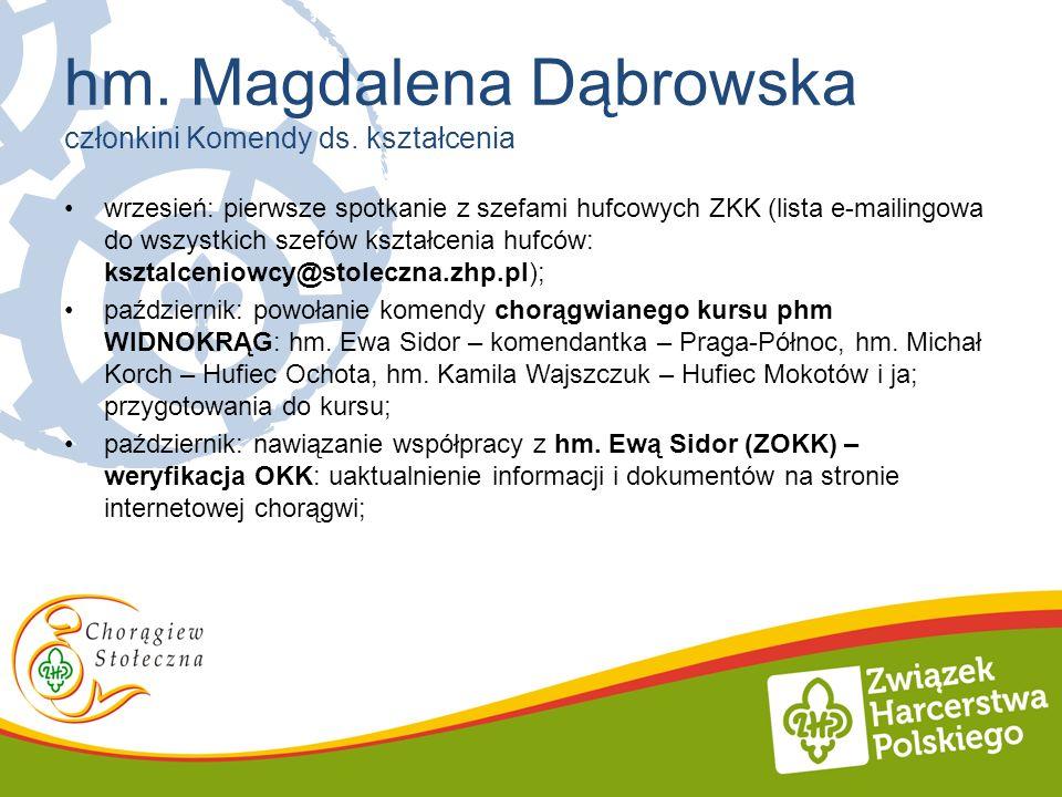 wrzesień: pierwsze spotkanie z szefami hufcowych ZKK (lista e-mailingowa do wszystkich szefów kształcenia hufców: ksztalceniowcy@stoleczna.zhp.pl); pa