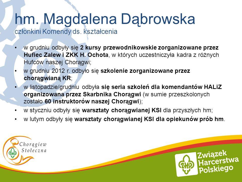 w grudniu odbyły się 2 kursy przewodnikowskie zorganizowane przez Hufiec Zalew i ZKK H. Ochota, w których uczestniczyła kadra z różnych Hufców naszej