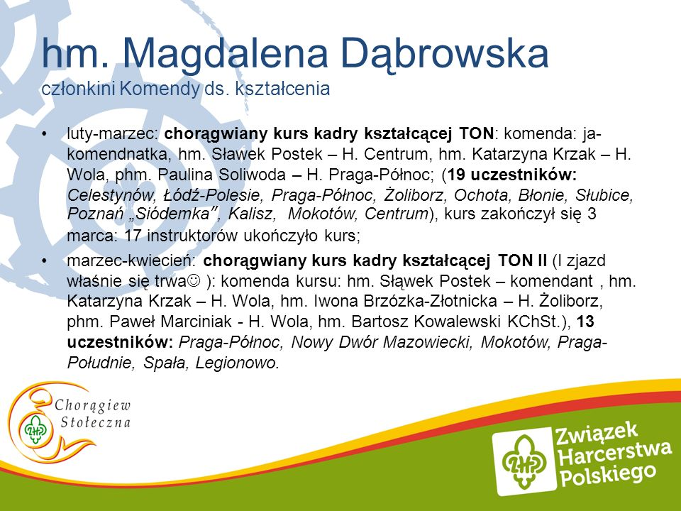 luty-marzec: chorągwiany kurs kadry kształcącej TON: komenda: ja- komendnatka, hm. Sławek Postek – H. Centrum, hm. Katarzyna Krzak – H. Wola, phm. Pau
