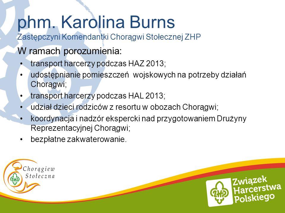 W ramach porozumienia: transport harcerzy podczas HAZ 2013; udostępnianie pomieszczeń wojskowych na potrzeby działań Chorągwi; transport harcerzy podc