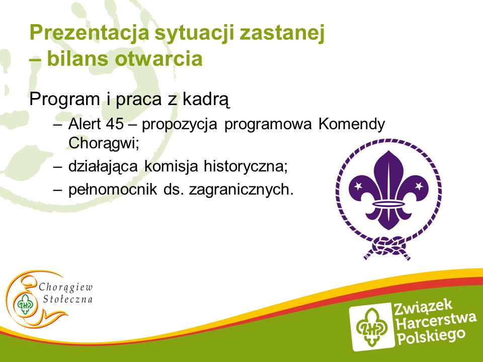 Prezentacja sytuacji zastanej – bilans otwarcia Program i praca z kadrą –Alert 45 – propozycja programowa Komendy Chorągwi; –działająca komisja histor