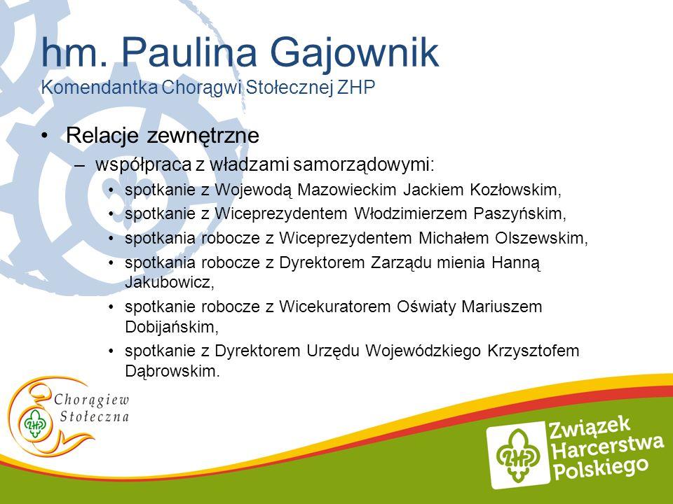 hm. Paulina Gajownik Komendantka Chorągwi Stołecznej ZHP Relacje zewnętrzne –współpraca z władzami samorządowymi: spotkanie z Wojewodą Mazowieckim Jac