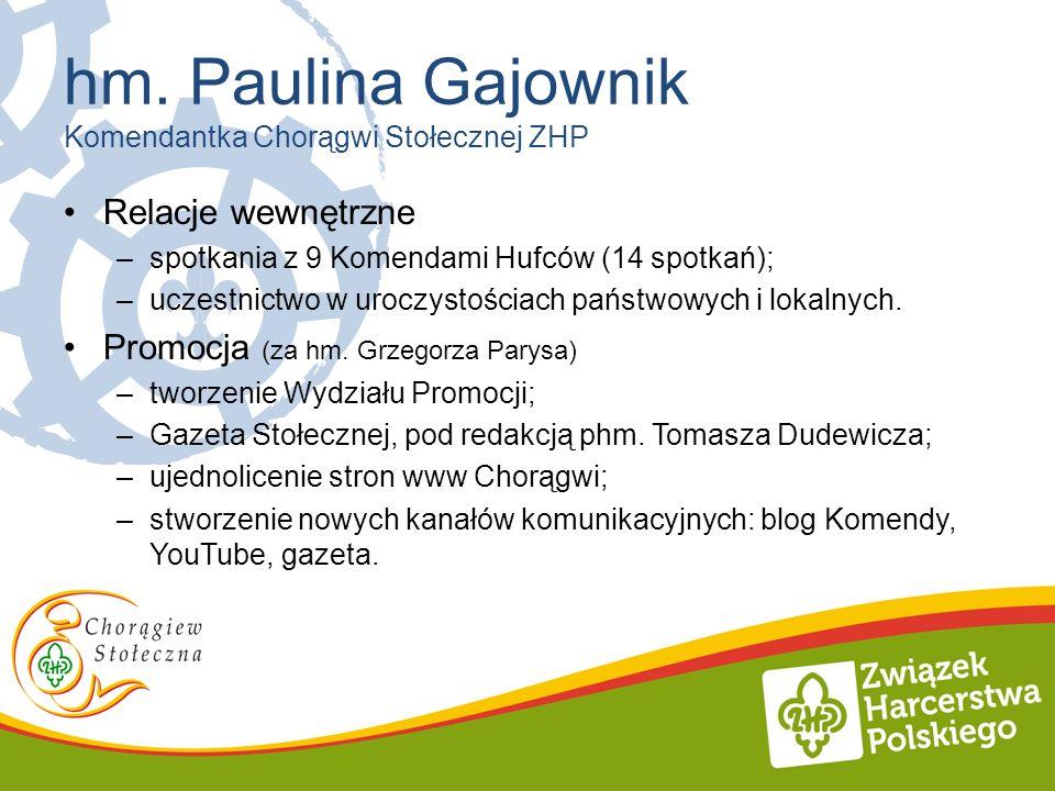 hm. Paulina Gajownik Komendantka Chorągwi Stołecznej ZHP Relacje wewnętrzne –spotkania z 9 Komendami Hufców (14 spotkań); –uczestnictwo w uroczystości
