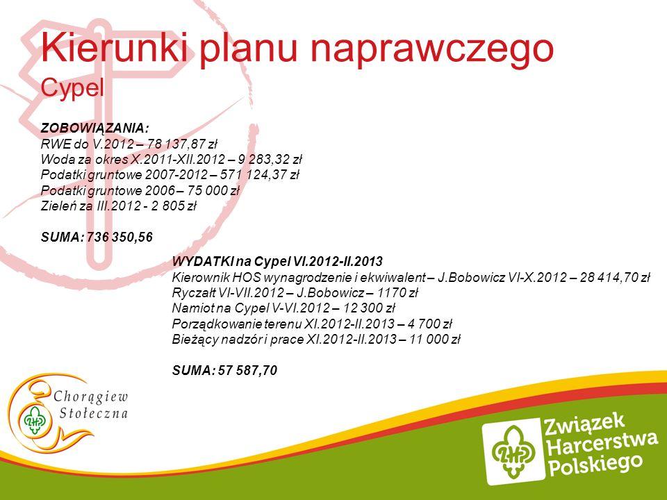 ZOBOWIĄZANIA: RWE do V.2012 – 78 137,87 zł Woda za okres X.2011-XII.2012 – 9 283,32 zł Podatki gruntowe 2007-2012 – 571 124,37 zł Podatki gruntowe 200