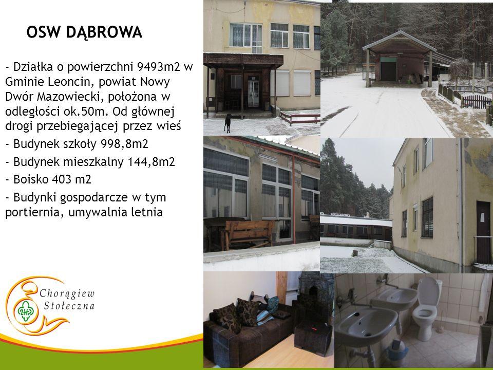 OSW DĄBROWA - Działka o powierzchni 9493m2 w Gminie Leoncin, powiat Nowy Dwór Mazowiecki, położona w odległości ok.50m. Od głównej drogi przebiegające