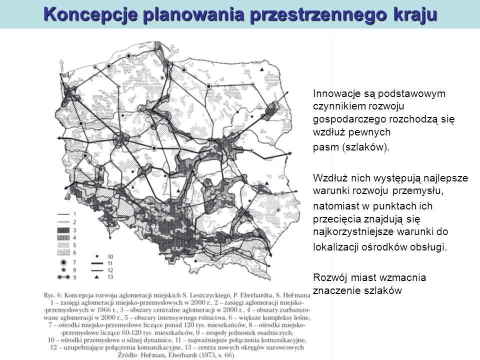 Polityka regionalna Koncepcje planowania przestrzennego kraju W układzie węzłowo-pasmowym przejawiał się optymizm racjonalnego zagospodarowania przestrzennego.
