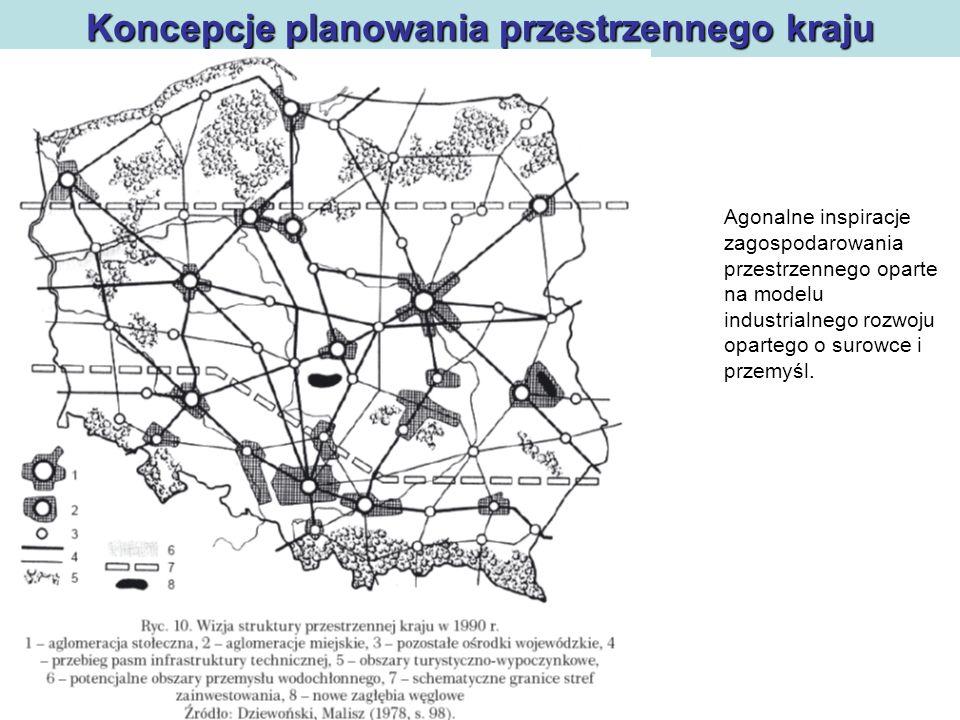 Polityka regionalna Koncepcje planowania przestrzennego kraju Agonalne inspiracje zagospodarowania przestrzennego oparte na modelu industrialnego rozw