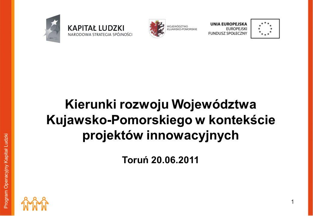 1 Kierunki rozwoju Województwa Kujawsko-Pomorskiego w kontekście projektów innowacyjnych Toruń 20.06.2011
