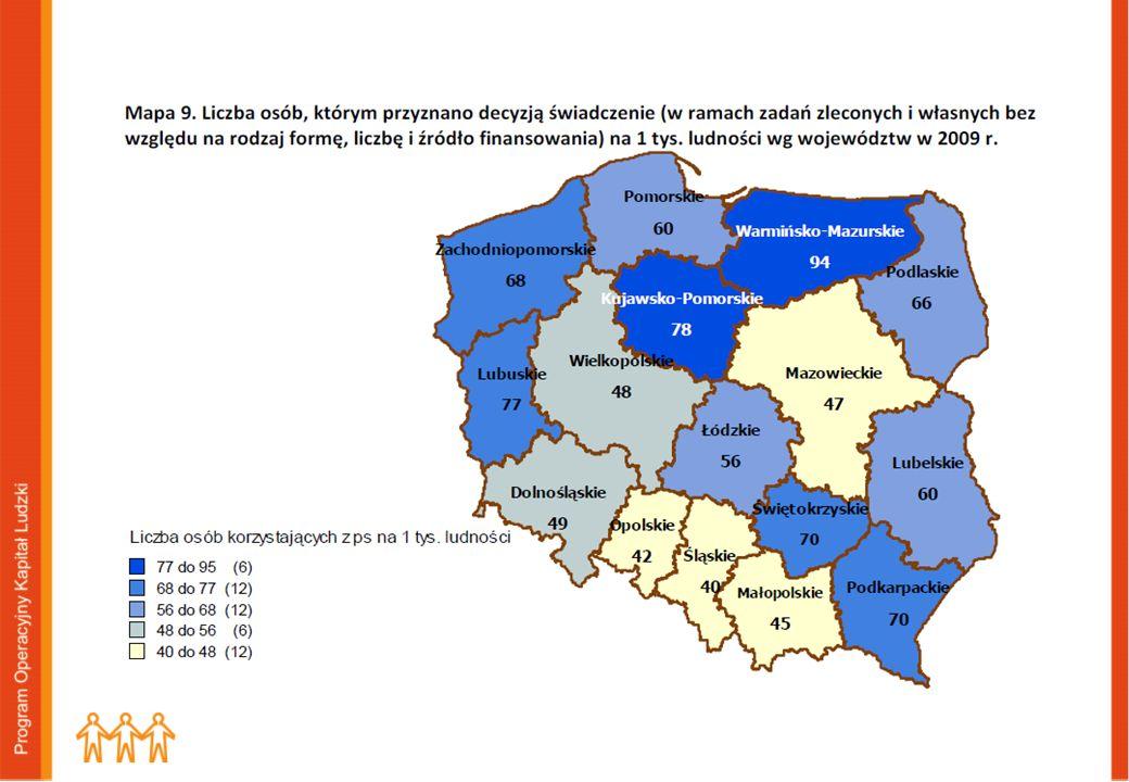 Liczba osób, którym przyznano decyzją świadczenie na 1 tys. ludności (wg. województw na 2009) Polska: 2008r. – 572009r. - 56