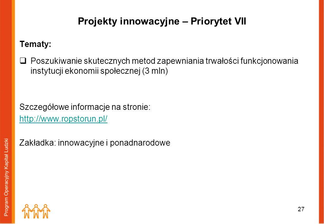 Projekty innowacyjne – Priorytet VII Tematy: Poszukiwanie skutecznych metod zapewniania trwałości funkcjonowania instytucji ekonomii społecznej (3 mln