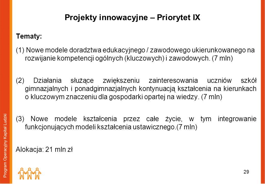 Projekty innowacyjne – Priorytet IX Tematy: (1) Nowe modele doradztwa edukacyjnego / zawodowego ukierunkowanego na rozwijanie kompetencji ogólnych (kl