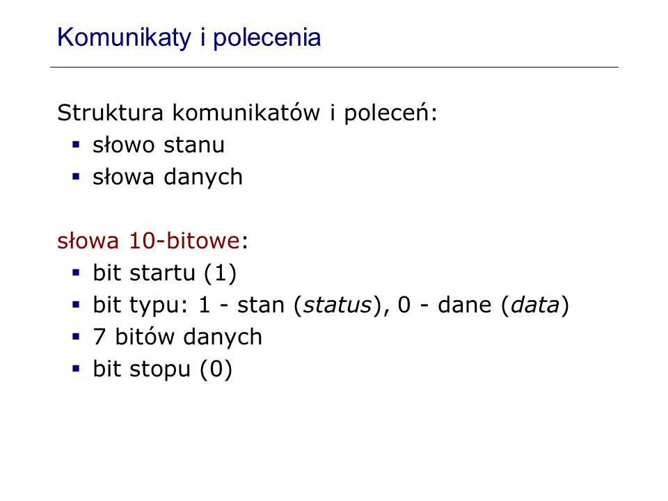 Komunikaty i polecenia Struktura komunikatów i poleceń: słowo stanu słowa danych słowa 10-bitowe: bit startu (1) bit typu: 1 - stan (status), 0 - dane