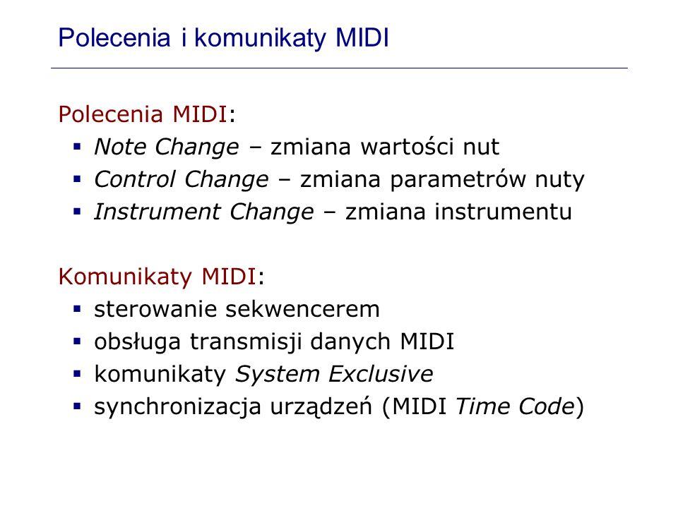 Polecenia i komunikaty MIDI Polecenia MIDI: Note Change – zmiana wartości nut Control Change – zmiana parametrów nuty Instrument Change – zmiana instr