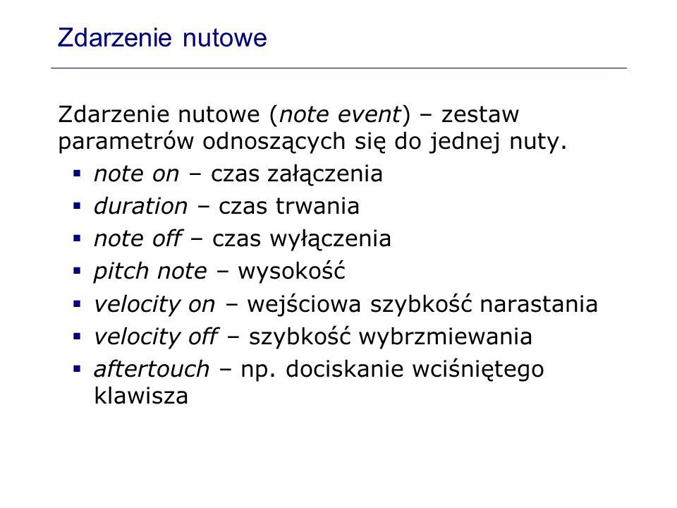 Zdarzenie nutowe Zdarzenie nutowe (note event) – zestaw parametrów odnoszących się do jednej nuty. note on – czas załączenia duration – czas trwania n