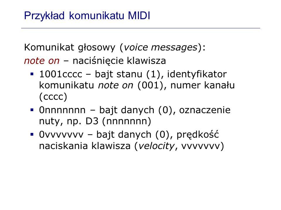 Przykład komunikatu MIDI Komunikat głosowy (voice messages): note on – naciśnięcie klawisza 1001cccc – bajt stanu (1), identyfikator komunikatu note o