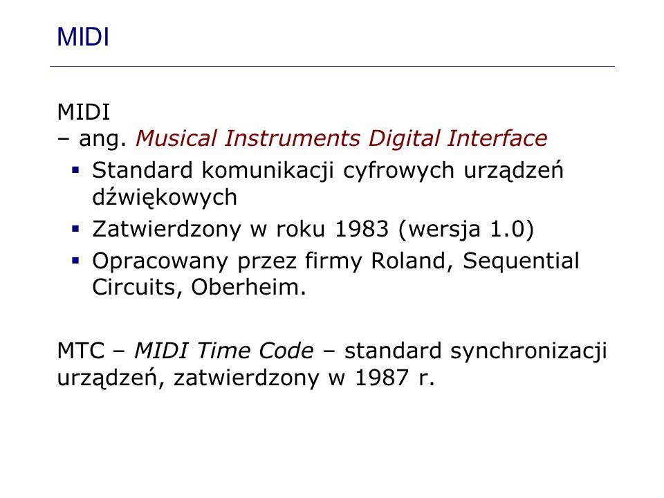 MIDI MIDI – ang. Musical Instruments Digital Interface Standard komunikacji cyfrowych urządzeń dźwiękowych Zatwierdzony w roku 1983 (wersja 1.0) Oprac