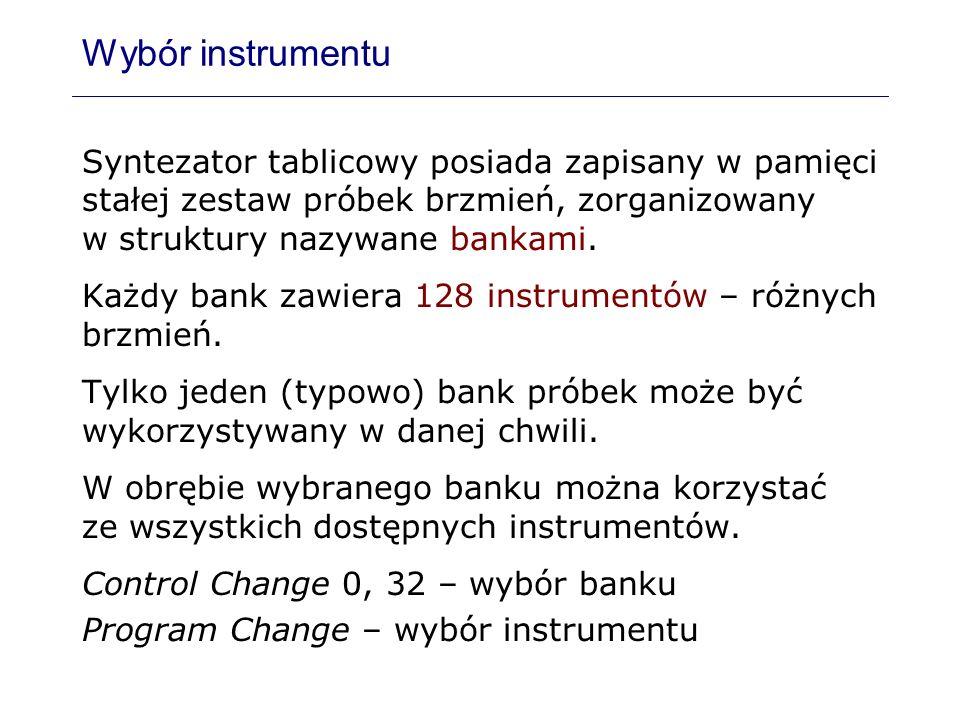 Wybór instrumentu Syntezator tablicowy posiada zapisany w pamięci stałej zestaw próbek brzmień, zorganizowany w struktury nazywane bankami. Każdy bank