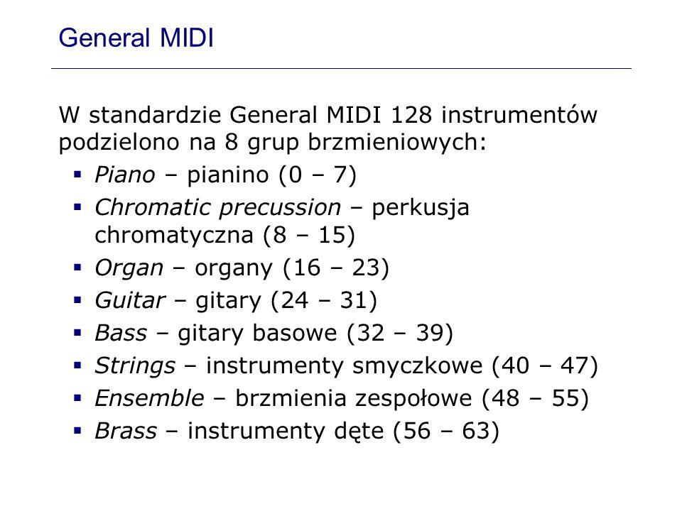 General MIDI W standardzie General MIDI 128 instrumentów podzielono na 8 grup brzmieniowych: Piano – pianino (0 – 7) Chromatic precussion – perkusja c