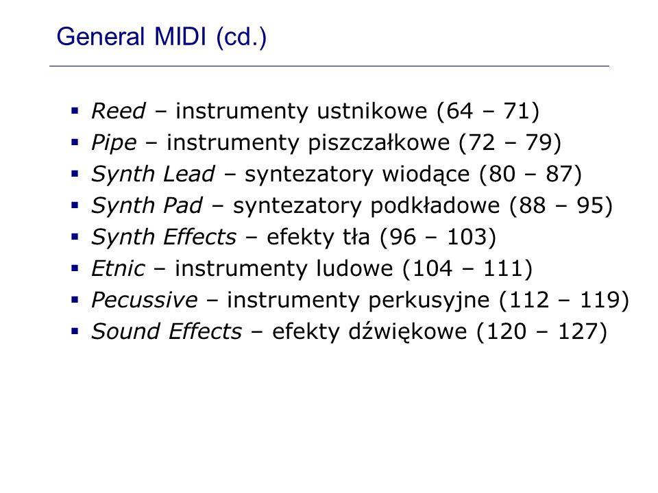 General MIDI (cd.) Reed – instrumenty ustnikowe (64 – 71) Pipe – instrumenty piszczałkowe (72 – 79) Synth Lead – syntezatory wiodące (80 – 87) Synth P