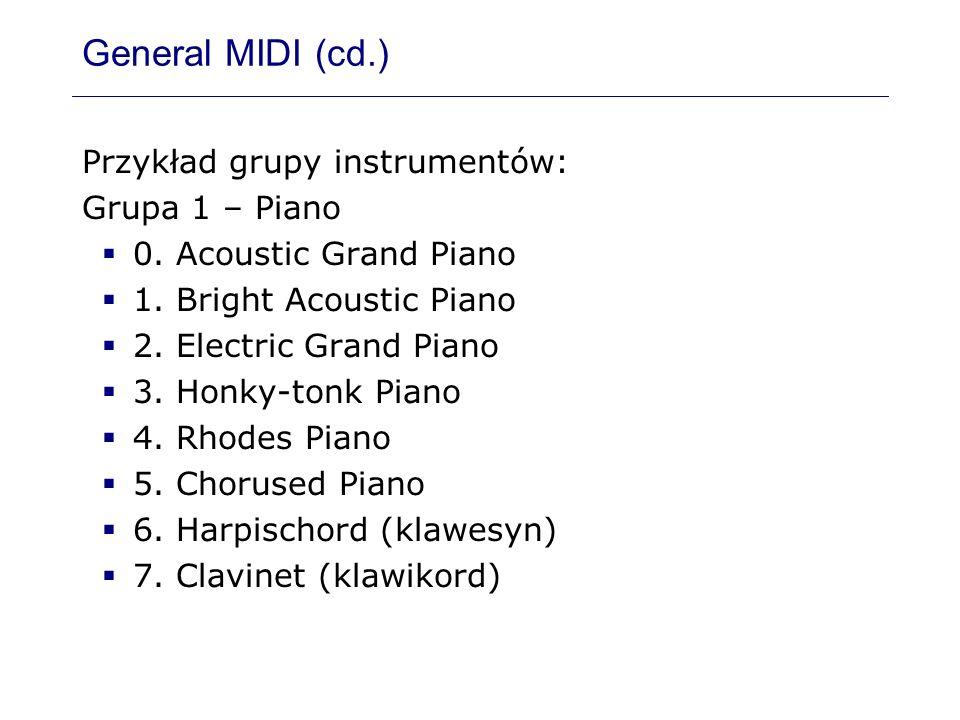 General MIDI (cd.) Przykład grupy instrumentów: Grupa 1 – Piano 0. Acoustic Grand Piano 1. Bright Acoustic Piano 2. Electric Grand Piano 3. Honky-tonk