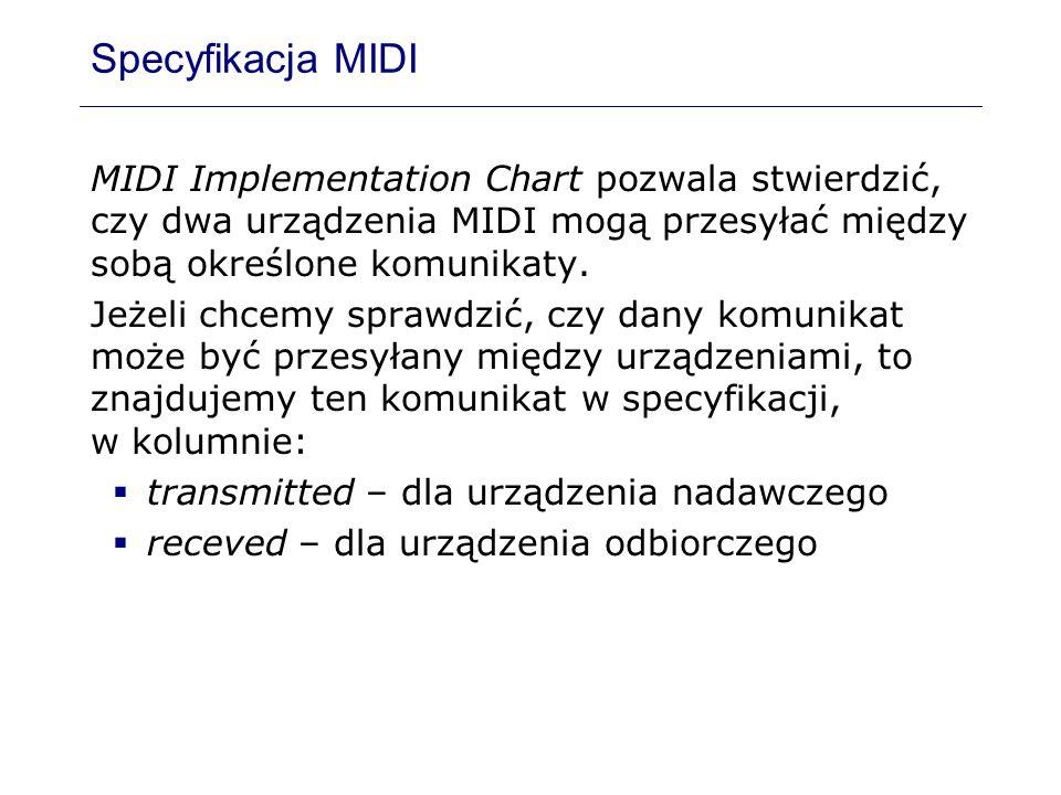 Specyfikacja MIDI MIDI Implementation Chart pozwala stwierdzić, czy dwa urządzenia MIDI mogą przesyłać między sobą określone komunikaty. Jeżeli chcemy