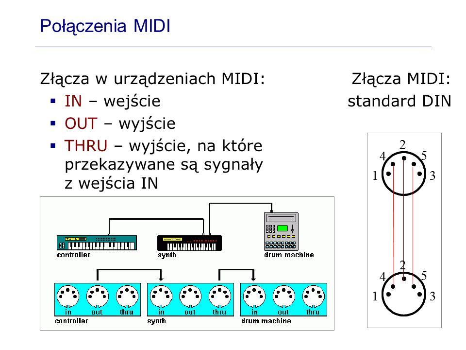 Połączenia MIDI Złącza w urządzeniach MIDI: IN – wejście OUT – wyjście THRU – wyjście, na które przekazywane są sygnały z wejścia IN 4 5 2 13 4 5 2 13