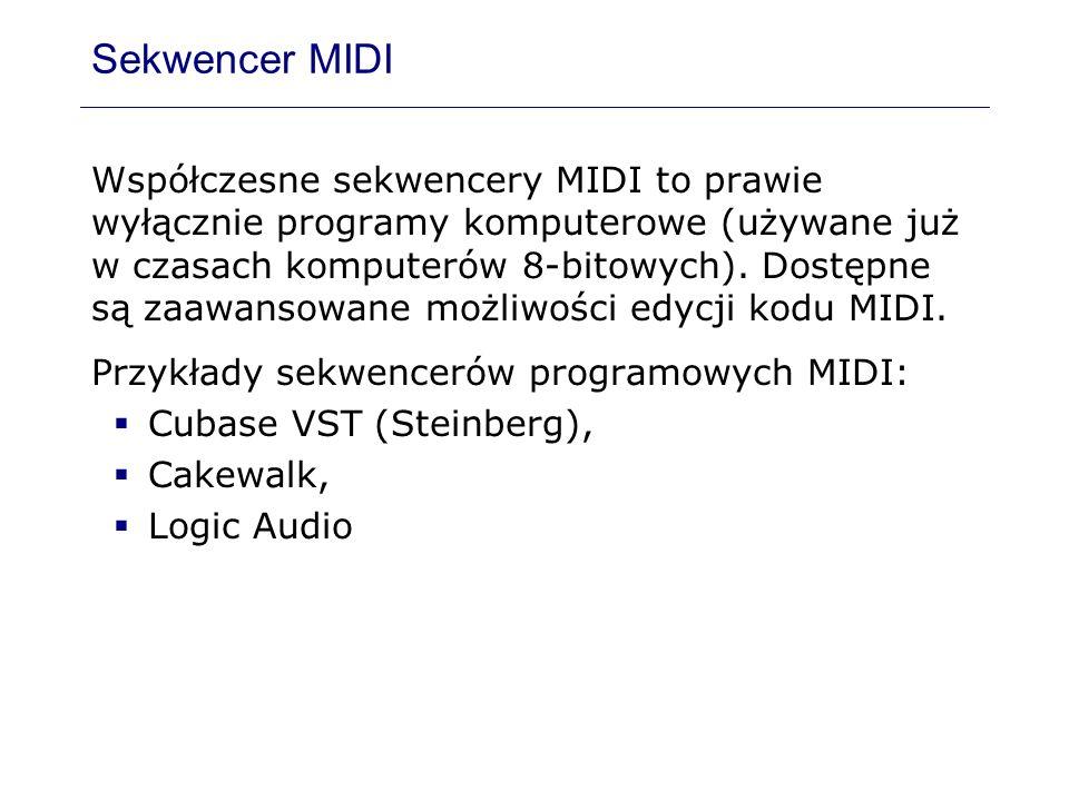 Sekwencer MIDI Współczesne sekwencery MIDI to prawie wyłącznie programy komputerowe (używane już w czasach komputerów 8-bitowych). Dostępne są zaawans