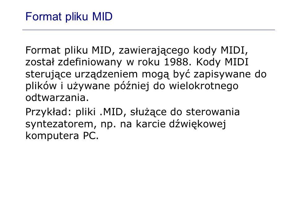Format pliku MID Format pliku MID, zawierającego kody MIDI, został zdefiniowany w roku 1988. Kody MIDI sterujące urządzeniem mogą być zapisywane do pl