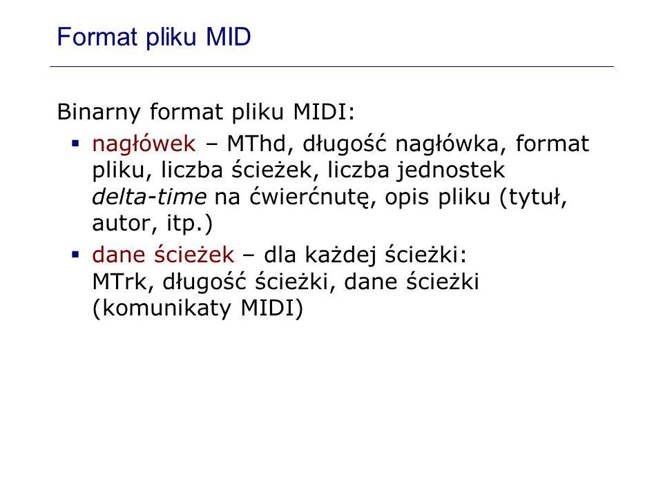 Format pliku MID Binarny format pliku MIDI: nagłówek – MThd, długość nagłówka, format pliku, liczba ścieżek, liczba jednostek delta-time na ćwierćnutę