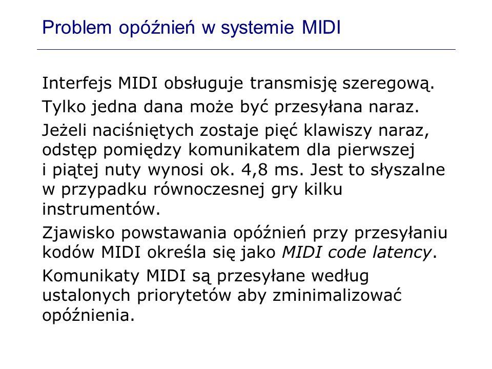 Problem opóźnień w systemie MIDI Interfejs MIDI obsługuje transmisję szeregową. Tylko jedna dana może być przesyłana naraz. Jeżeli naciśniętych zostaj