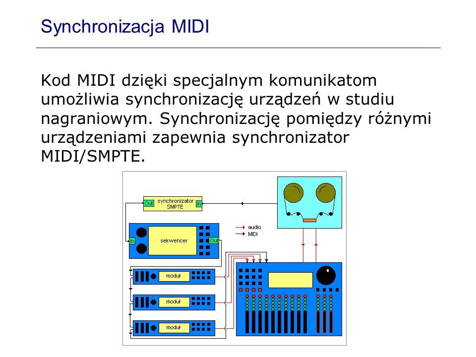 Synchronizacja MIDI Kod MIDI dzięki specjalnym komunikatom umożliwia synchronizację urządzeń w studiu nagraniowym. Synchronizację pomiędzy różnymi urz