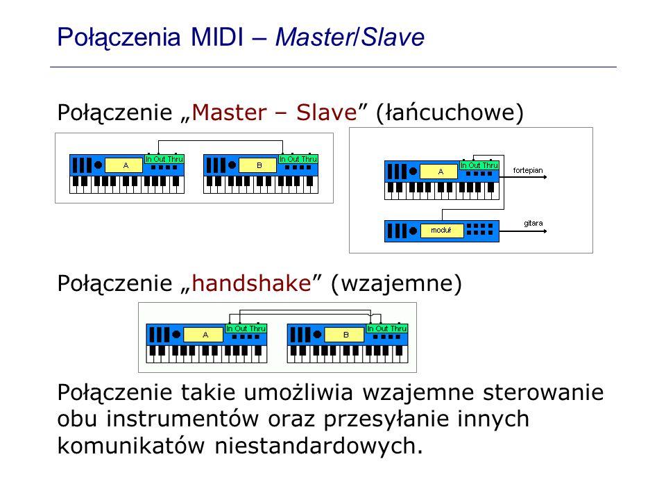 Połączenia MIDI – Master/Slave Połączenie Master – Slave (łańcuchowe) Połączenie handshake (wzajemne) Połączenie takie umożliwia wzajemne sterowanie o