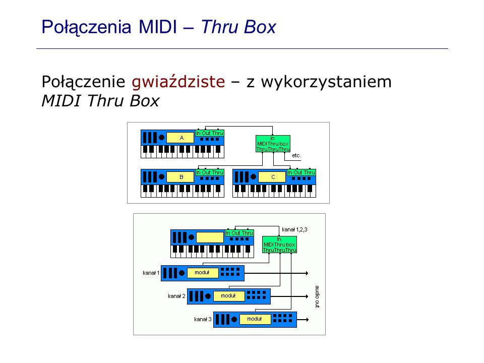 Połączenia MIDI – Thru Box Połączenie gwiaździste – z wykorzystaniem MIDI Thru Box