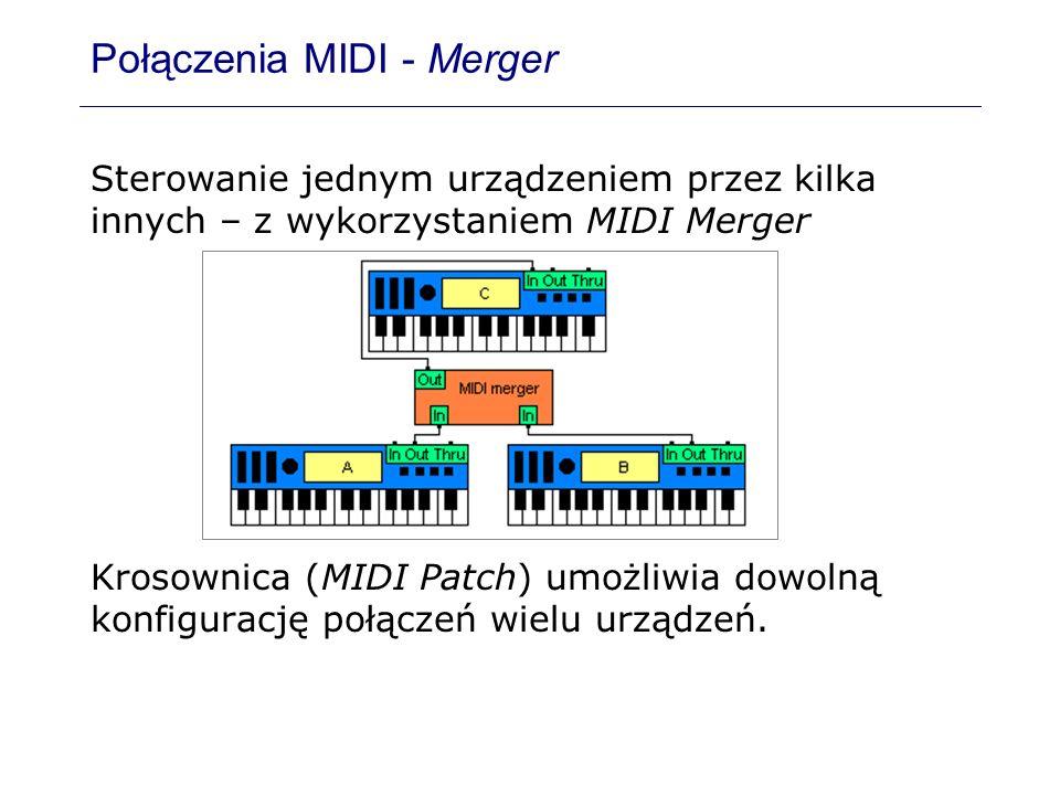Połączenia MIDI - Merger Sterowanie jednym urządzeniem przez kilka innych – z wykorzystaniem MIDI Merger Krosownica (MIDI Patch) umożliwia dowolną kon