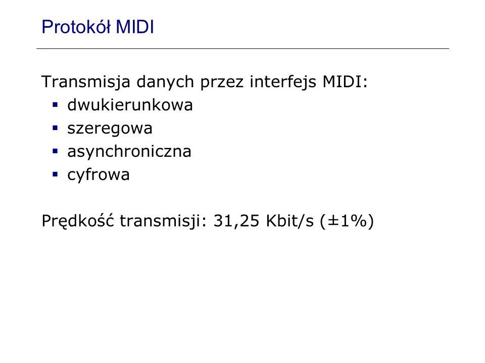 Protokół MIDI Transmisja danych przez interfejs MIDI: dwukierunkowa szeregowa asynchroniczna cyfrowa Prędkość transmisji: 31,25 Kbit/s (±1%)